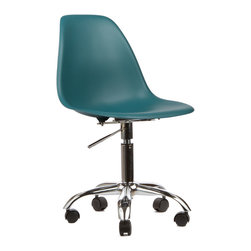 Office Slope Chair in Teal - The Office Slope Chair combines our favorite design with our most-desired office furniture needÑa decent chair. It's perfect for adding both function and style to your workplace. The smooth polypropylene seat is perched atop a more traditional office chair base, complete with wheels for rolling back and forth at your desk. The chair is inspired by an iconic design from the mid-century, but updated for today's busy, modern times. Available in a variety of vibrant colors, this chair is sure to spark your next big idea.