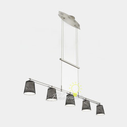 Low-Voltage Halogen Chandelier No. 5515/5 - The height of this low-voltage pendant is easily adjusted with the hand-polished counter-weight. Five 20-Watt Halostar bulbs by Osram and hand-blown glass provide soft, even lighting. This fixture utilizes an electronic, line-voltage (120 V input) to low-voltage (12 V output) transformer by Lightech. If you are planning to use a dimmer with this fixture, we recommend using a Lutron ELV (electronic low-voltage) style dimmer. Includes a 175-Watt transformer, allowing for a 20-Watt maximum per bulb. Design and utilities patent pending.