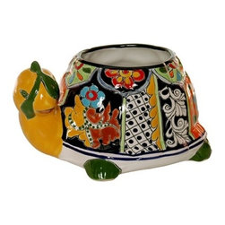 Mexican Talavera - Mexican Talavera Turtle Planter - Small - Design D - Mexican Talavera Turtle Planter - Small