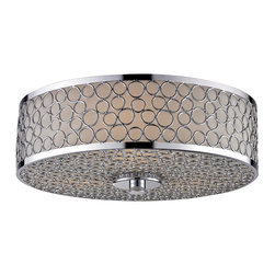 Z-Lite - Z-Lite Synergy Ceiling Light X-2-F991 - For an elegant yet modern look, this two bulb flush mount is your answer.  A warm glowing matte opal shade is covered in an outer casing of polished nickel rings.Finished in sleek polished nickel, this fixture is the definition of modern elegance.