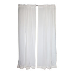 "Uchit - Uchit™ Handcrafted Cotton Voile Sheer Curtain Panel, White, 48"" X 96"" - These lightweight hand woven curtains bring an air of elegance to your home. Sheer. Unlined. Large rod pockets. GOTS certified organic cotton yarn. Hand dyed with plant based dyes."