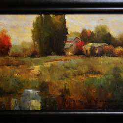 Ranch Waters (Original) by Kanayo Ede - Oil on canvas landscape painting of a ranch bathed in an evening warmth with a little stream in the foreground. Framed and comes in a box as pictured.