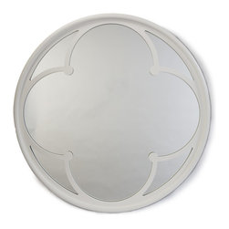 Kathy Kuo Home - Neve Modern Gloss White Wood Round Small Mirror - Mirrors can reflect light, create the illusion of space and open up your room. This beautiful mirror has a lovely inner frame that adds interest and depth. If you hang it to reflect a window, your space will look bigger and brighter.