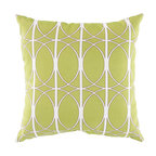 """Surya - Geometric Design Square Pillow ZZ-411 - 22"""" x 22"""" - Fashion an aesthetically pleasing and gallantly geometric look for your space with this pristine pillow. As graphic as it is glamorous, this piece offers a geometric design in exquisite green juxtaposing bold lines and smooth circles . This pillow provides a reliable and affordable solution to updating your indoor or outdoor decor."""