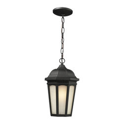 Z-Lite - Z-Lite 508CHB-BK Newport 1 Light Outdoor Lamps in Black - Contemporary yet elegant, this large chain hung outdoor fixture is inspired by traditional octagonal lanterns but with a modern construction. White seedy glass panels are paired with a sleek black finish, and this fixture is made of cast aluminum in order to endure all seasons.