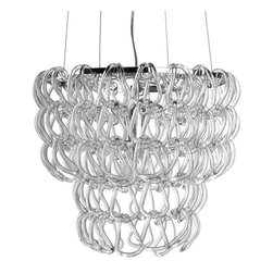 Nuevo - Letizia Pendant Lamp - Canopy included. 1-tier dual ring pendant lamp. High gloss stainless steel frame. Shade of hooked glass chains. Takes 1 E26 75W bulb. 16 in. Dia. x 13.5 in. H (25.5 lbs.)