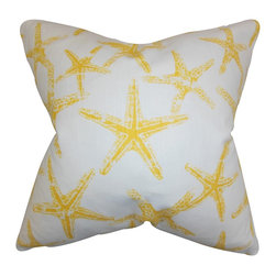 """The Pillow Collection - Ilene Coastal Pillow Yellow - Bring a beachy vibe to your home with this unique accent pillow. This decor piece features a nautical-inspired pattern in shades of yellow and white. This throw pillow is ideal for indoor use. Adorn your sofa, bed or seat with this 18"""" pillow. Constructed using 100% soft cotton material and crafted in the USA."""