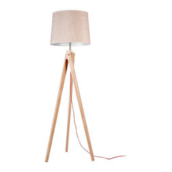 ParrotUncle - Contemporary Tripod Floor Lamps with Linen Fabric Shade - A chic tripod floor lamp is the perfect lighting solution for a sophisticated living room or home office. An elegant natural paper shade completes the effortless design.