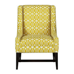 Chloe Chair - Liven up your living room or home office with this fabulous chair in the prettiest shade of citron. Add a teal or fuchsia accent pillow to really make it pop!