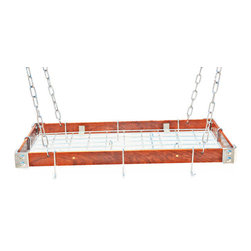 "Rogar - KD Rectangle with Grid, Cherry Wood/Chrome - Dimensions:  30"" x 15"" x 2"""