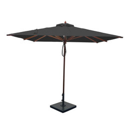 Greencorner - 8'x8' Mahogany Umbrella, Black - 8x8' Square