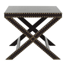 """Safavieh - Jeanine X End Table - Charcoal - """"X"""" marks the spot. And the charcoal grey Jeanine end table would feel at home among the posh decor of a Manhattan Pre-war apartment or a contemporary Hollywood mansion. Covered with charcoal grey faux leather of sturdy polyurethane and crafted with iron nailhead detail, it's a perfect accent piece for any soiree that requires pomp and circumstance."""