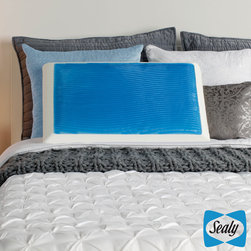 None - Sealy Memory Foam and Gel Bed Pillow with Mesh Cover - Rest in luxurious comfort with this antimicrobial Sealy pillow. A layer of gel covers the thick layer of memory foam to provide a cooling effect. It cradles your head and neck to reduce discomfort, and it has a removable mesh cover for easy cleaning.