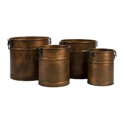 iMax - iMax Tauba Round Copper Planter with Iron Handles, Set of 4 X-4-53144 - Antique look, copper set of four water tight planters in graduated sizes. Features handles on each side and ribbed design.