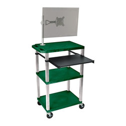 H. Wilson - Tuffy 24 in. Portable Presentation Cart in Hunter Green - Includes pullout laptop shelf and three outlet 15 ft. cord. Three shelves. High density polyethylene structural foam injection molded plastic shelves. 1.5 in. nickel legs that will not chip, warp, crack, rust or peel. 4 in. silent roll. Full swivel ball. 4 in. heavy duty casters, two with locking brakes. 0.25 in. safety retaining lip and a raised texture surface to enhance product placement. Ensures minimal sliding. Cord management wrap and three cable management clips. Electrical attachment recessed to insure easy passage through doorways. Shelves and legs are made from recycled material. Made from polyethylene and plastic. Made in USA. Minimal assembly required. Pullout shelf: 19.63 in. L x 15.63 in. W. Shelves: 24 in. L x 18 in. W x 1.5 in. H. Overall: 24 in. L x 18 in. W x 42.5 in. H. Warranty
