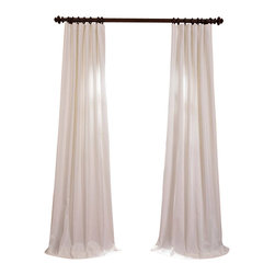 "Exclusive Fabrics & Furnishings, LLC - Aged White Cotton Twill Curtain - 100% Cotton. 3"" Pole Pocket with Hook Belt & Back Tabs. Lined . Imported. Weighted Hem. Dry Clean Only."