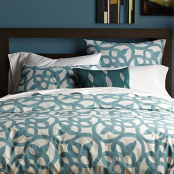 Organic Ironwork Duvet Cover - This duvet cover resembles ironwork architecture and would be perfect in my guest room. The teal is fabulous.