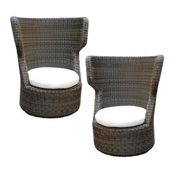 Eden Chairs - The Eden Chairs, part of the outdoor collection, are a pair of high back chairs made out of tropical brown WaProLace® fiber hand woven onto an aluminum frame, making it weather proof and resistant to any drastic temperature change. It comes complete with comfortable cushions with removable covers in off-white 100% acrylic fabric.