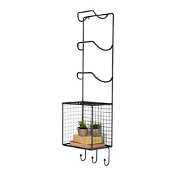 Wire Butler Wall Rack - Equal parts rustic charm and spa luxury, this wall rack keeps your bathtime goodies at the ready. Three towels fit into both the high racks and the hooks below, separated by a wire shelf for bath sets or decor.