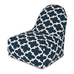 Majestic Home Goods - Navy Trellis Kick-It Chair - This Majestic Home Goods Navy Trellis Kick-It Chair will add style and functionality to your living room, dorm room or outdoor patio. This beanbag chair has the design of modern furniture, while still giving the comfort of a classic bean bag. Woven from outdoor treated polyester, these loungers are durable yet comfortable. The beanbags are eco-friendly and feature a removable zippered slipcovers. Spot clean with mild detergent and hang dry. Do not wash insert.