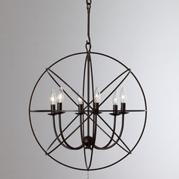 "Horchow - Wrought Iron Sphere Chandelier - Five rings form a sphere chandelier finished with a glass ball pendant and offer unique looks from every angle. Handcrafted of wrought iron. Uses six 60-watt candelabra bulbs. 22""Dia. x 27.5""T; chain is 6'L. Imported. Boxed weight, approximately 18..."
