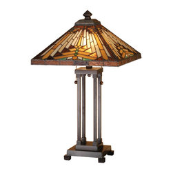 Meyda Tiffany - Meyda Tiffany Lamps Table Lamp in Copperfoil - Shown in picture: Nuevo Mission Table Lamp; Warm Earth Toned Bone Beige And Moccasin Tan Stained Glass - Accented With Glistening Root Brown And Sage Green - Is Used To Make This Intricate Interlocking Patterned Shade. A Mission Style Lamp Base In A Hand Applied Mahogany Bronze Finish Supports The Handsome Square Shade Inspired By Native American Artwork. Handcrafted With The Copper Foil Technique Developed By Louis Comfort Tiffany - This Table Lamp Is A True Masterpiece.