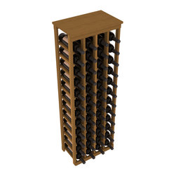 """Wine Racks America - 48 Bottle Kitchen Wine Rack in Premium Redwood, Oak Stain - Store 4 complete cases of wine in less than 20"""" of wall space. Just over 4 feet tall, this narrow wine rack fits perfectly in hallways, closets and other """"catch-all"""" spaces in your home or den. The solid wood top serves as a shelf or table top for added convenience and storage of nick-nacks."""