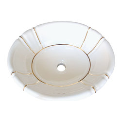 Decorated Porcelain Company - Gold Bands Hand Painted Sink - Simple gold bands coordinate effortlessly with a granite or marble counter top and traditional vanity. On a white fluted drop-in sink. All of our fixtures are hand-made to order in the USA and kiln-fired for long-lasting durability.