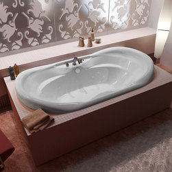 Venzi - Venzi Aline 41 x 70 Oval Air & Whirlpool Jetted Bathtub - The Aline series is equipped with two cockpits, providing molded arm and back support. Drop-In installation ensures that the Aline whirlpool bathtub will fit into various styles of bathroom settings. Increased height of side edges creates additional support, while adding comfort.