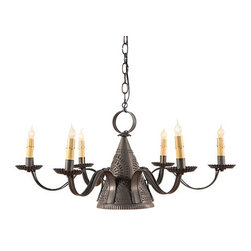 Irvin's Tinware - Madison Chandelier in Blackened Tin - The warmth of the family gathered around the table for a hearty meal will be even more inviting when the Madison Chandelier is part of your home's decor. The center down light and six arms illuminate independently or together. Crafted with outward punched chisel design.