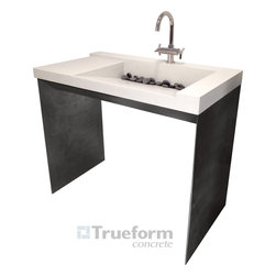 "Trueform Concrete - This is a ADA compliant concrete sink and steel base fabricated by Trueform Concrete.  the sink is a ramp sink that converts under the sink to an 1 1/4"" standard drain fitting.  This sink can come in any color and the base can be done in many steel finishes."