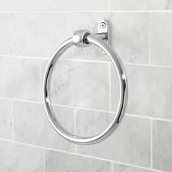"""Covington Towel Ring Chrome finish - Finished in your choice of Polished Nickel, Satin Nickel or Chrome, our rust-resistant ring brings a bright, clean look to your bath. 6.5"""" wide x 2.5"""" deep x 7"""" high Expertly crafted of brass and stainless steel with a polished nickel finish. Mounting hardware included. View our {{link path='pages/popups/fb-bath.html' class='popup' width='480' height='300'}}Furniture Brochure{{/link}}."""