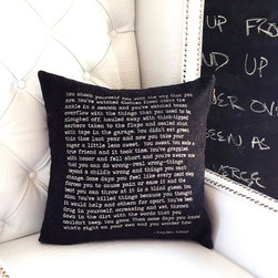 Product shoot 1 - 100% eco-friendly throw pillow handcrafted with a paragraph taken from a short story printed on the outside. Full length of the short story can be found printed on the inner fill. Limited edition piece. Pictured is number 1 of 300. Photo credits Kult Decor.