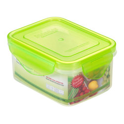 Kinetic - 15 oz. Plastic Food Storage Container w Silicone Sealed Lid - Kinetic Go Green Premium. 15 oz. Rectangle storage container. Silicone sealed locking lids. BPA-free plastic food storage. The Kinetic preservation technology helps food stay fresh up to three times longer for maximum freshness and superior spoilage prevention.. Keeps your foods fresher up to 3 times longer than conventional plastic food storage. Airtight and watertight silicone seal. Refrigerator and freezer-safe. Microwave-safe without the lids. Top rack dishwasher-safe. Clear body with green lid