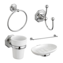 Hudson Reed - Luxury Traditional Bathroom Accessories Pack Complete Set - Enhance the look and feel of your new bathroom with the Hudson Reed Victorian Luxury bathroom essentials pack. Made from solid brass with a high quality chrome plated finish to ensure of long lasting good looks this accessory pack is perfect for providing the finishing touches to your traditional style bathroom. Providing a great way to create a fully coordinated look the Victorian bathroom essentials pack includes the towel ring, double robe hook, single towel rail, ceramic tumbler and holder and the ceramic soap dish and holder. The Victorian accessory pack is supplied with all the relevant screws and wall plugs.