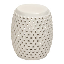 White Polished Fancy Ceramic White Foot Stool - Description: