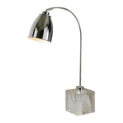 Uttermost Fabbrico Desk Lamp - Polished chrome plated metal with faux rock crystal foot and a pivoting shade. Polished chrome plated metal with faux rock crystal foot and a pivoting shade.