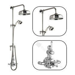 """Hudson Reed - Traditional Thermostatic Shower System With Victorian Riser Kit 8"""" Round Head - The Hudson Reed Traditional 0.7"""" (18mm) Grand Rigid Riser Kit with Twin Thermostatic Shower Faucet Valve complements the appearance of any bathroom furnished in traditional style. The ceramic and chrome materials used for the single function exposed shower valve match the chrome exposed rigid riser kit. An attractive period-style control lever and tap regulate the temperature and the rate of flow of water through the shower rose. The Grand Rigid Riser allows the luxury of a large shower rose for showering, combined with the flexibility of a shower head."""