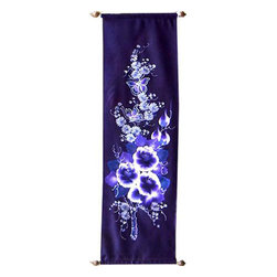 Oriental-Décor - Blue Bouquet - This lovely scroll painting depicts a menage of violet flowers and butterflies that is sure to add serenity to any room. Entirely hand-painted, this decorative art piece embodies the traditional Chinese scroll paintings that began 2,000 years ago.