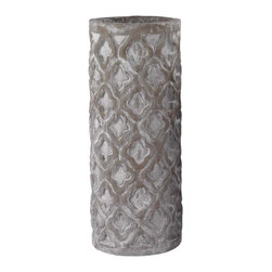 Lazy Susan - Lazy Susan Tall Antique Gray Vase With Organic Pattern - This Piece Is Deliberately Thick And Chunky Featuring An Organic Pattern In Antique Grey Finish. The Understated Elegance And The Vintage Look Add Special Charm Wherever It Is Set. Also Available As A Short Vase.