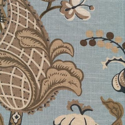 Covington Fabrics - Wilmington Fabric, Robins Egg, Sample - From Covington this fabric is screen printed on textured medium weight linen viscose blend and very versatile. This fabric is the perfect weight for light upholstering and revitalizing an existing piece of furniture (headboards, ottoman, chairs, sofa, loveseat) . For a great new look simply create a slipcover or accentuating toss pillows also would make a great tote bag.