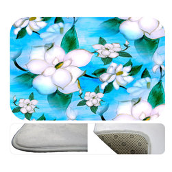 """usa - Magnolias Bath Mat,  30"""" X 20"""" - Bath mats from my original art and designs. Super soft plush fabric with a non skid backing. Eco friendly water base dyes that will not fade or alter the texture of the fabric. Washable 100 % polyester and mold resistant. Great for the bath room or anywhere in the home. At 1/2 inch thick our mats are softer and more plush than the typical comfort mats. Your toes will love you."""