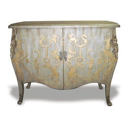 French Curvy Chest, Distressed Metallic Blue Grey with Gold - French Curvy Chest, Distressed Metallic Blue Grey with Gold