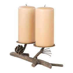Stone County Ironworks - Double Candleholder - Candles not included. Wonderfully hand-forged piece. Incredible textures in the bark and the pine cone. Gold or copper highlights showcase the pinecone and needles. 3.5 in. candle base plate. Made from iron. 14 in. L x 5 in. W x 3.5 in. H (3 lbs.)Dazzling hand-forged realism reflected in the natural beauty of this evergreen conifer. The gifted black-smith artisans here in the hills of Arkansas make every effort to translate every detail, from the rustic elegance of a hand-made pine-cone, to the warm texture of hammered bark. Transform any room by bringing the great outdoors inside.