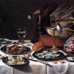 "Pieter Claesz Still-Life with Turkey-Pie - 14"" x 28"" Premium Archival Print - 14"" x 28"" Pieter Claesz Still-Life with Turkey-Pie premium archival print reproduced to meet museum quality standards. Our museum quality archival prints are produced using high-precision print technology for a more accurate reproduction printed on high quality, heavyweight matte presentation paper with fade-resistant, archival inks. Our progressive business model allows us to offer works of art to you at the best wholesale pricing, significantly less than art gallery prices, affordable to all. This line of artwork is produced with extra white border space (if you choose to have it framed, for your framer to work with to frame properly or utilize a larger mat and/or frame).  We present a comprehensive collection of exceptional art reproductions byPieter Claesz."