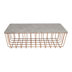 Blu Dot - Blu Dot Scamp Large Table, Copper Base - Marble Top - Three sizes, three base finishes and two tops to choose from to scatter or cluster. Mix and match our little Scamp to form your own landscape of beauty and utility.