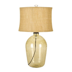 "Lamps Plus - Contemporary Kelley Clear Pear Glass Table Lamp - This pear-tone clear glass jug table lamp has a comforting style that will add charm to any room. Natural bubbles throughout the glass echo the texture of the natural burlap shade up top and the look is completed with a round glass finial. This beautiful table lamp will brighten your home decor for years to come. Contemporary glass jug table lamp. Clear pear glass. Natural burlap shade. Glass construction. 3-way switch. Takes one maximum 150 watt or equivalent 3-way bulb (not included). Decorative matching finial. Shade is 14"" across the top 15"" across the bottom and 10"" high. 28"" high.  Contemporary glass jug table lamp.  Clear pear glass.  Natural burlap shade.  Glass construction.  3-way switch.  Takes one maximum 150 watt or equivalent 3-way bulb (not included).  Decorative matching finial.  Shade is 14"" across the top 15"" across the bottom and 10"" high.  28"" high."
