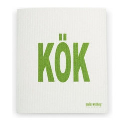 Swedish Dishcloth KOK, Green - THE SWEDISH ECO-FRIENDLY DISHCLOTH: The dry sponge cloth was invented in 1949 by the Swedish engineer Curt Lindquist, who discovered that a mixture of natural cellulose (wood pulp) and cotton can absorb an incredible 15 times its own weight in water.