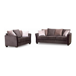 New Spec - Madison Fabric Sofa And Love Seat - Fabric. Wood Legs. 92.91 in. W x 33.46 in. D x 35.43 in. H