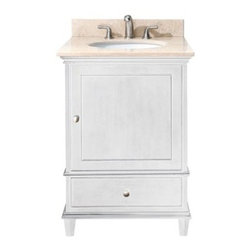 """Avanity - Avanity Windsor 24"""" Vanity with Countertop - White - The Windsor 24"""" vanity in white is a beautiful transitional design with classic lines. Constructed of solid poplar wood and veneers, brushed nickel hardware, soft-close drawer guides and hinges. Features: Vanity only in White finish Poplar solid wood and veneer Brushed nickel finished hardware 1 Soft-close door 1 soft-close drawer Adjustable height levelers View Spec Sheet for vanity How to handle your counterView Spec Sheet for Mirror Natural stone like marble and granite, while otherwise durable, are vulnerable to staining from hair dye, ink, tea, coffee, oily materials such as hand cream or milk, and can be etched by acidic substances such as alcohol and soft drinks. Please protect your countertop and/or sink by avoiding contact with these substances. For more information, please review our """"Marble & Granite Care"""" guide."""